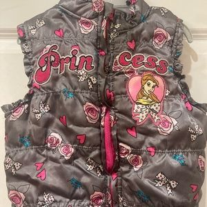 Disney gray satin princess puffy vest size 4t